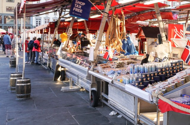 Dried and canned fish for sale at the Fish Market in Bergen Norway