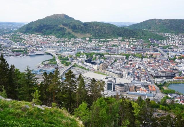 View from Mt. Floyen in Bergen Norway: taking the Floibanen funicular to the top of Mt. Floyen is a must-do in Bergen!