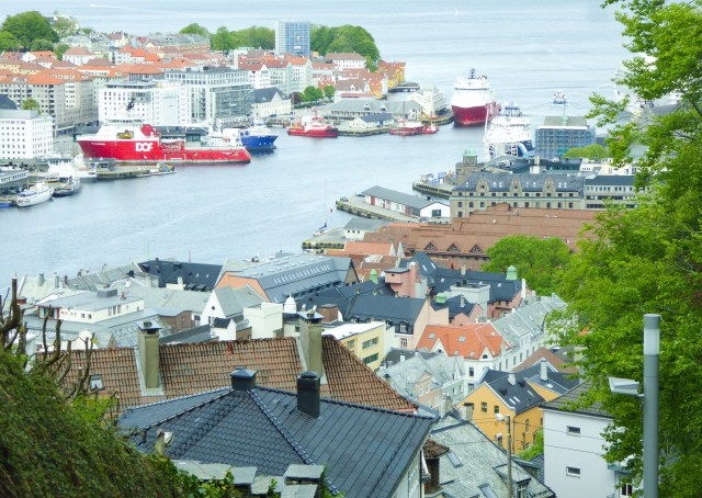 Coming back down the mountain on the Floibanen in Bergen Norway