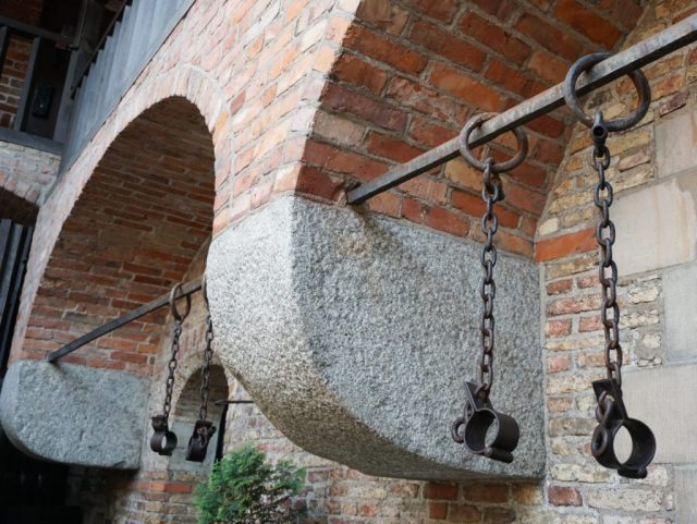Shackles used to bind prisoners Torture House Old Town Gdansk Poland