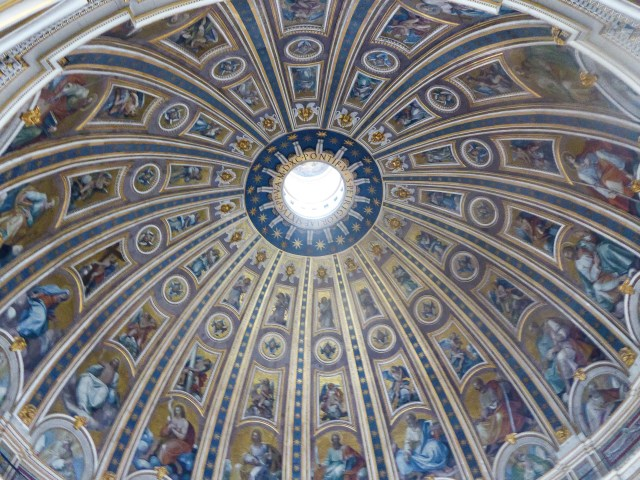 The interior of the dome of St. Peter's in Vatican City