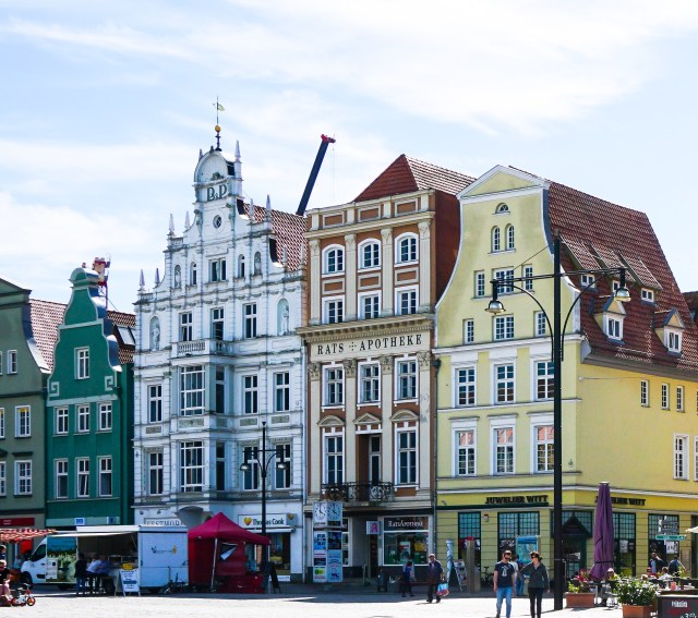 Gabled houses at Neuer Markt in Rostock Germany