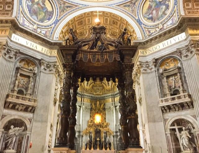 Bernini's bronze baldacchino in St. Peter's Vatican City