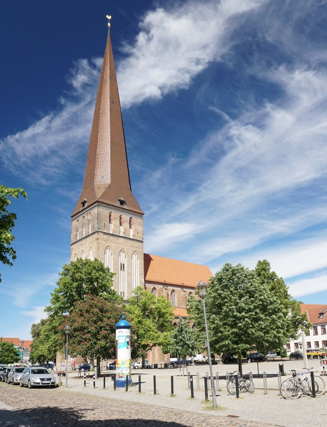 The pointy spire of Petrikirche in Rostock Germany