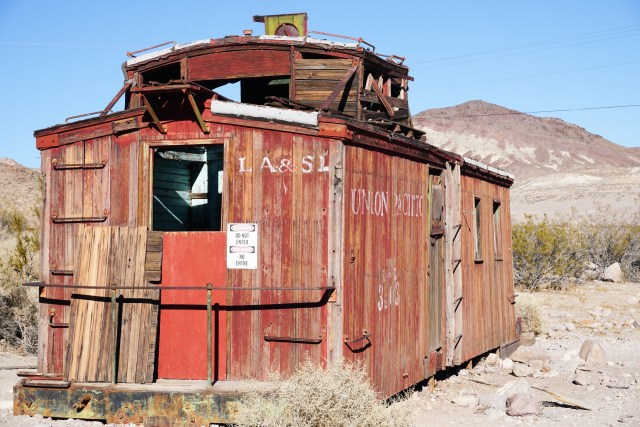OLd railroad car at Rhyolite in Nevada