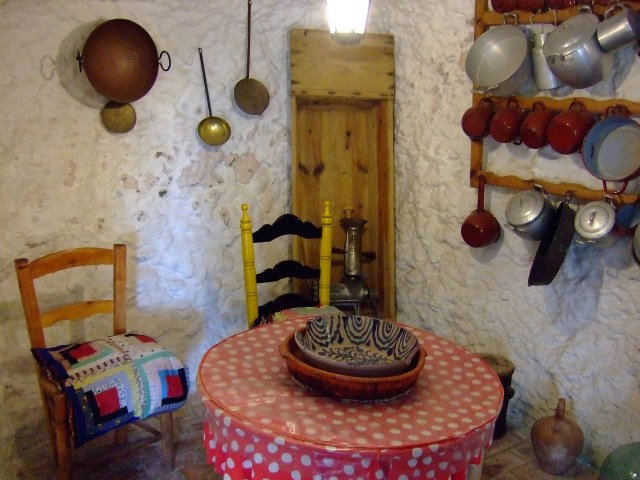 Dining room in a cave dwelling in Sacromonte Granada Spain