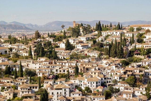A view of the barrio de Albaicin from the Alhambra in Granada Spain