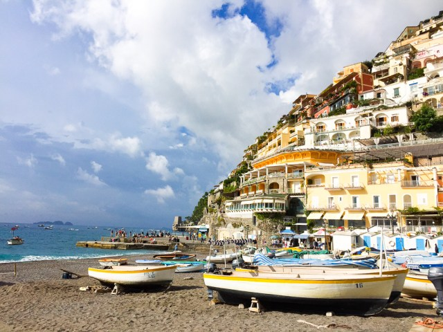 A view of Positano's pastel houses on Italy's Amalfi Coast