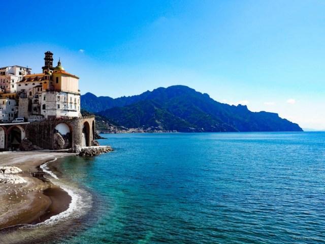 A view of Atrani on the Amalfi Coast of Italy, a UNESCO World Heritage Site
