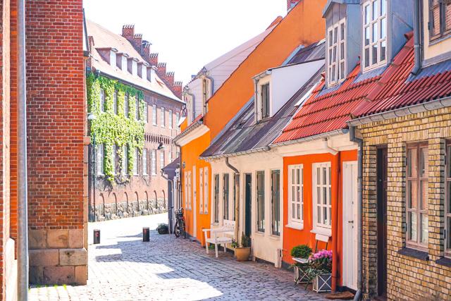 Pretty street in Aalborg Denmark