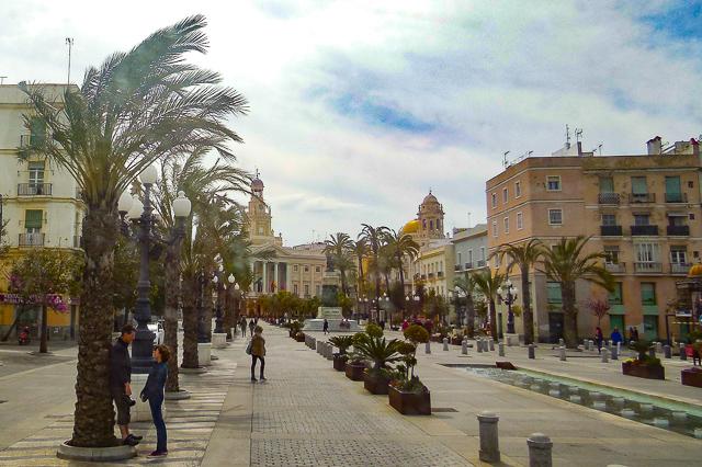 Walking through Cadiz in Andalusia Spain