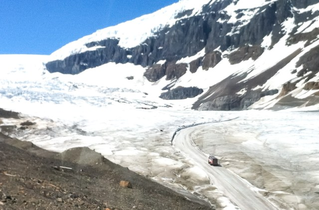 A snocoach on its way to the Athabasca Glacier Alberta Canada