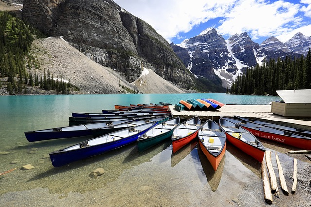 Canoe dock at Moraine Lake Alberta Canada