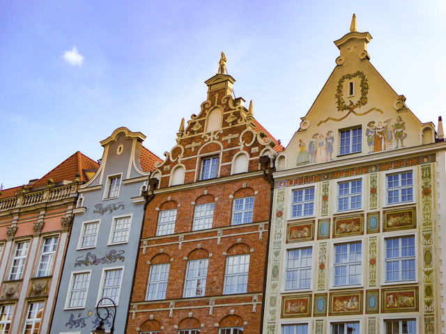 Beautiful facades at Dlugi Targ in Gdansk Old Town Poland
