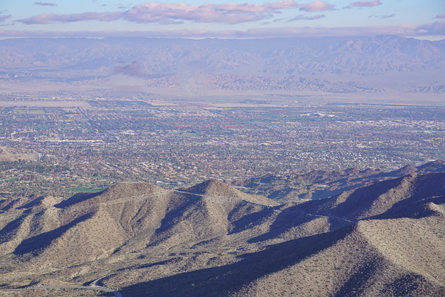 A view of Coachella Valley from the Palms to Pines Scenic Byway near Palm Springs California