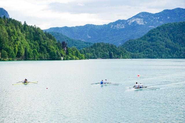 Rowers practicing at Lake Bled in Slovenia