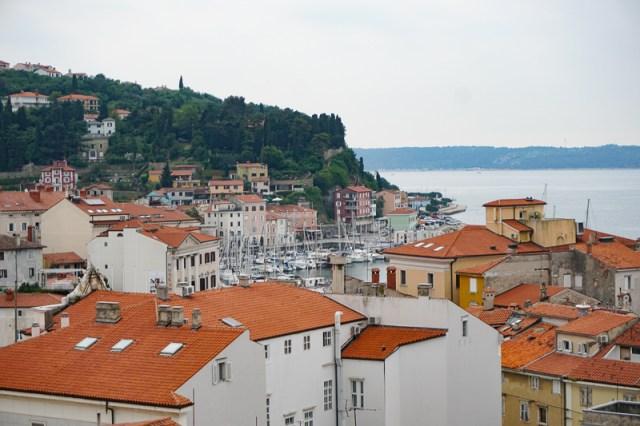 View of Piran's Marina from the Church of St. George Piran Slovenia