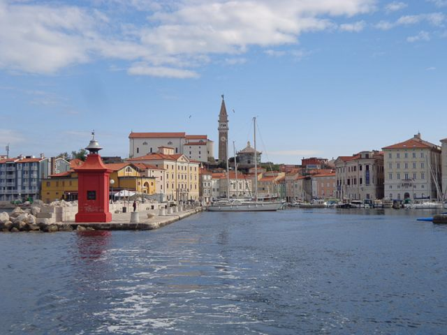 View of Piran Slovenia from the water