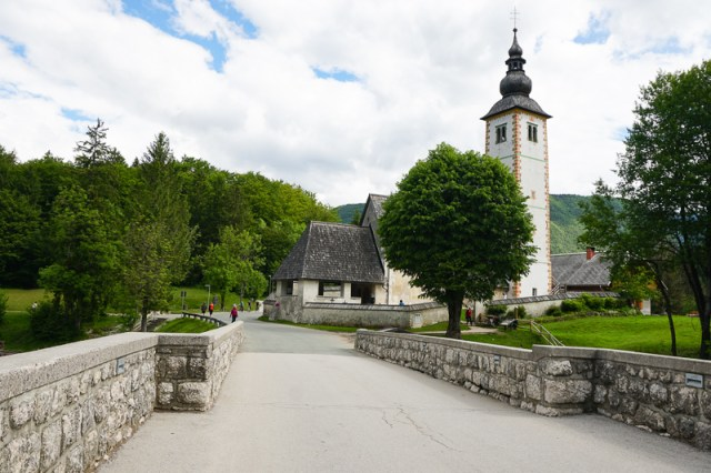The Church of St. John the Baptist on the shore of Lake Bohinj in Ribcev Laz, Slovenia