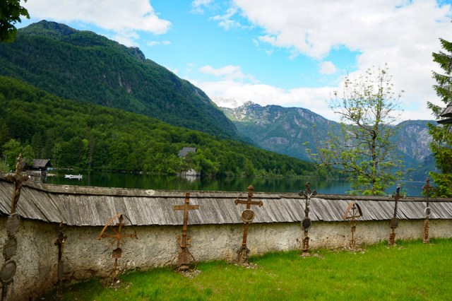 Fence outside St. John the Baptist Church Lake Bohinj Slovenia