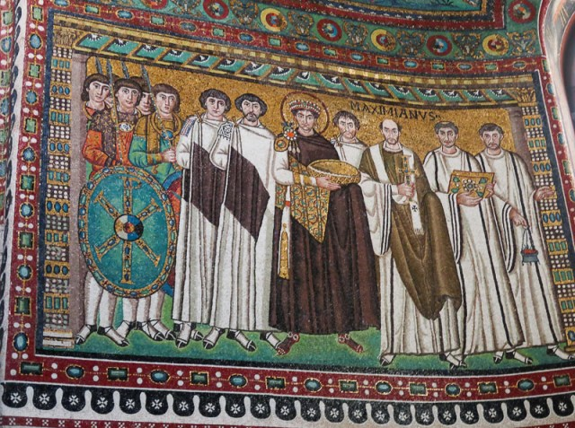 Mosaic Justinian and his court Ravenna Italy