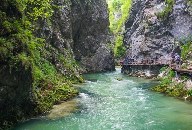 Visitors at Vintgar Gorge in Slovenia