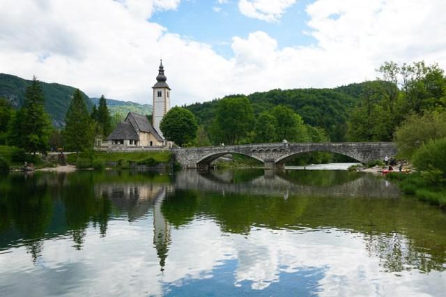 The picturesque St. John the Baptist Church, Lake Bohinj, Slovenia