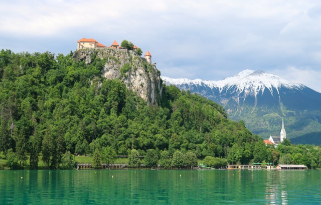 View from Pletna Boat Lake Bled Slovenia