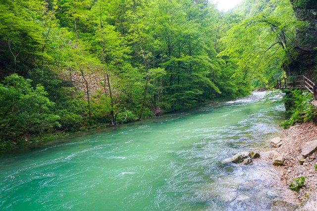 The beautiful Vintgar Gorge ndear Lake Bled in Slovenia