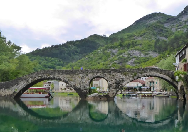 Danilo Bridge with the village of Rijeka Crnojevica behind it