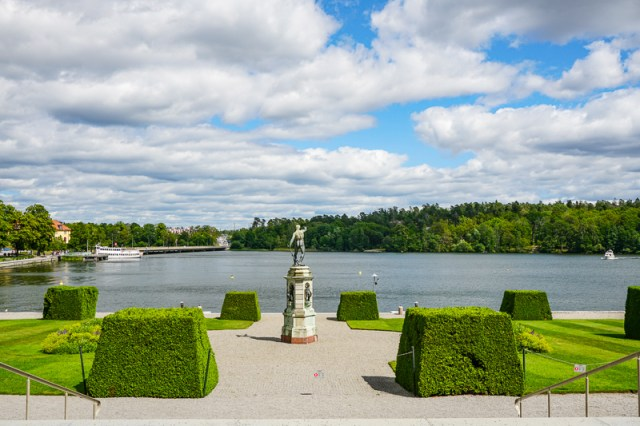 Looking out to the boat dock atDrottningholm Palace Sweden