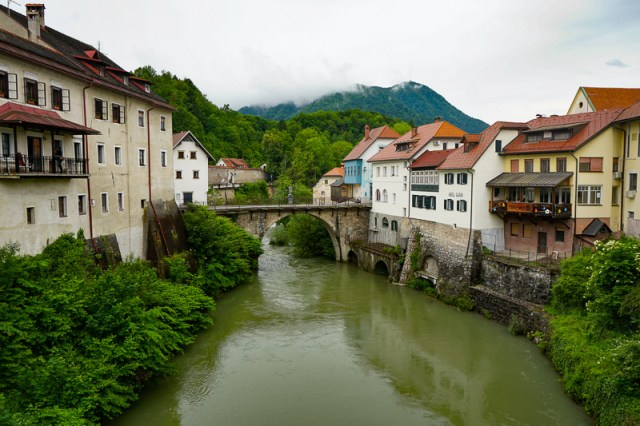 The Capuchin Bridge in Skofja Loka Slovenia