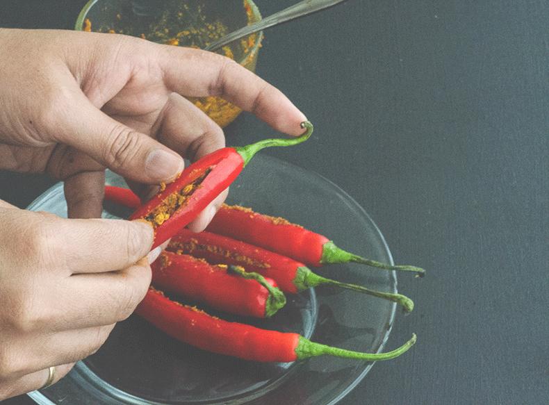 Stuffed chili pepper achaar