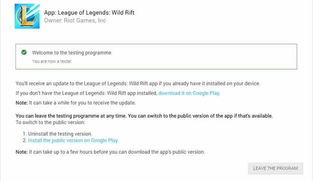 Wild Rift is open for testing