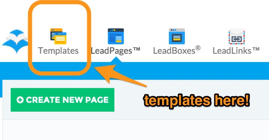 Templates in Leadpages screenshot