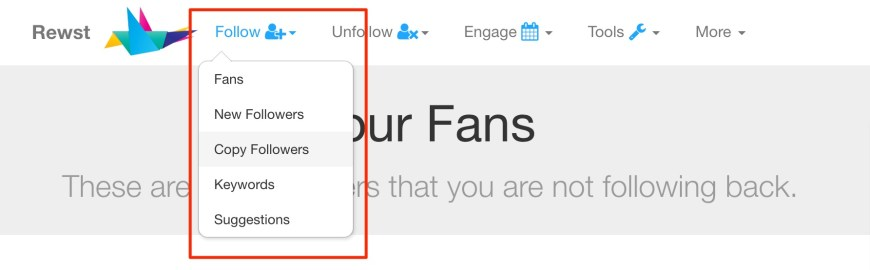 The follow menu has several options to help you find new people to follow.