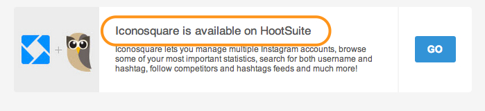 Screenshot highlighting Iconosquare availability on Hootsuite