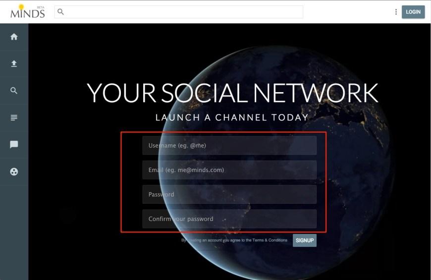sign up to minds.com screenshot