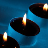three blue candles