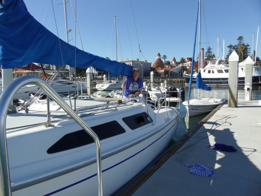 The Dread Pirate Dave on a Catalina 25 in the San Diego Bay
