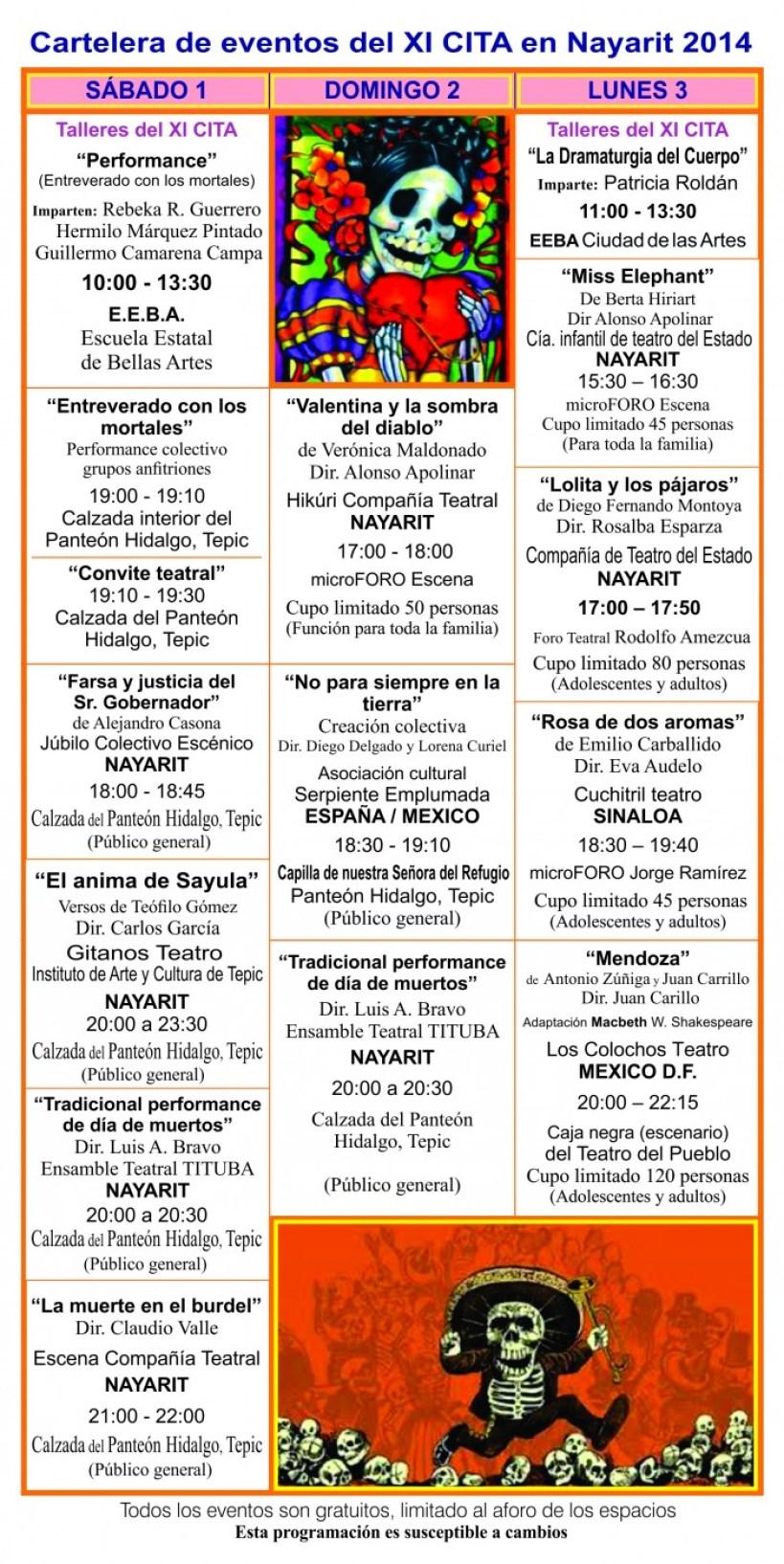 Programa cartelera del XI CITA 2014 1