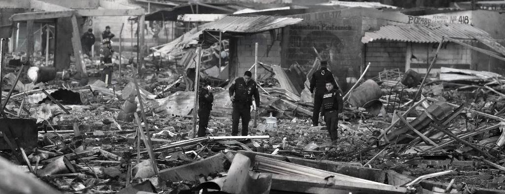 Mercado de Tultepec tras la explosión de diciembre del 2016