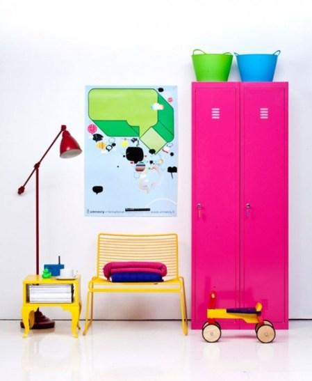 Pink lockers in bedroom
