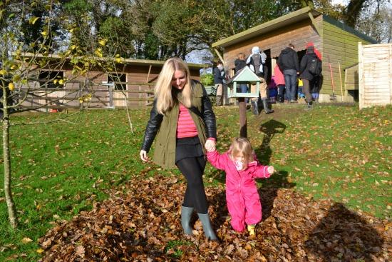 Kicking leaves!