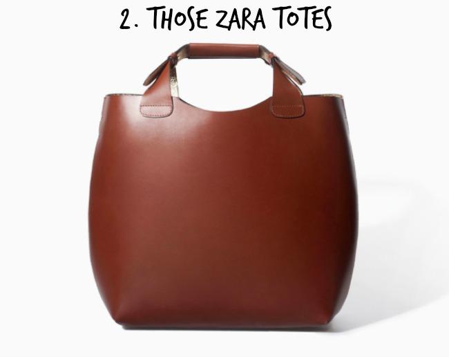 Zara leather tote bag