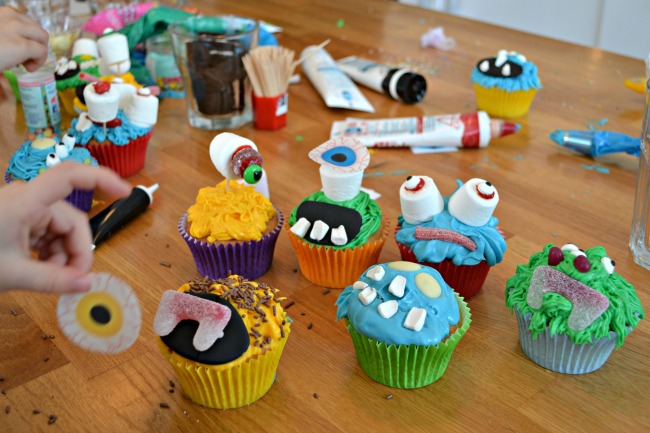 Making monster cupcakes
