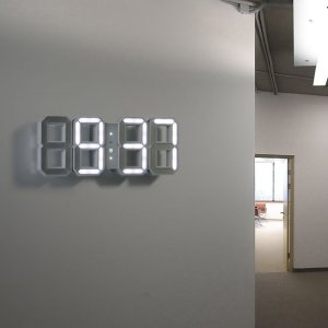 White & White LED Clock - 1