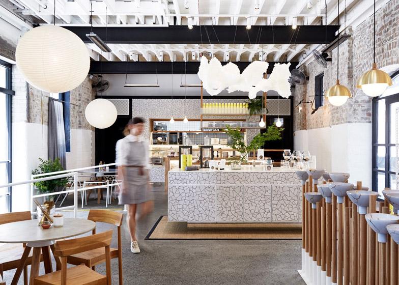 australian cafe lighting design by matt