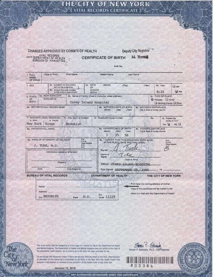 New York Long Form Birth Certificate Ibovnathandedecker