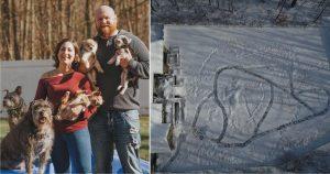 familia con 21 perros hace laberinto de nieve